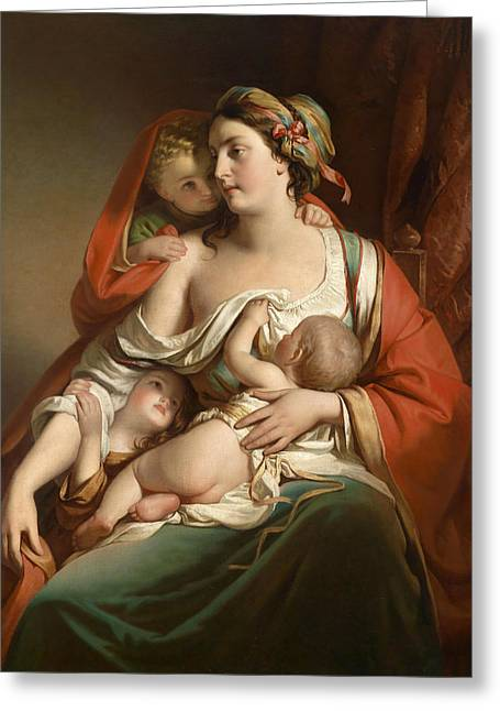Carita Greeting Cards - Caritas Greeting Card by Friedrich von Amerling