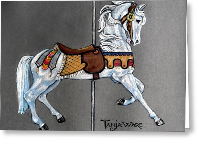 Equines Pastels Greeting Cards - Carl Carmel Carousel Horse Greeting Card by Tanja Ware