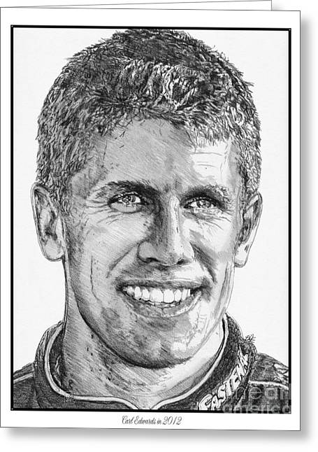 60 Inches Drawings Greeting Cards - Carl Edwards in 2012 Greeting Card by J McCombie