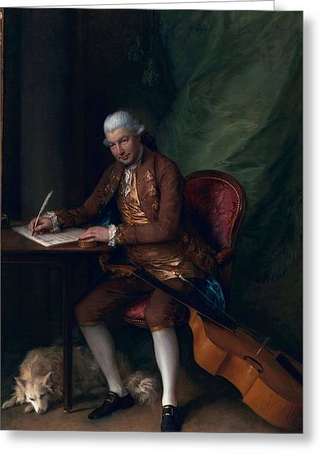 Stringed Instrument Greeting Cards - Carl Friedrich Abel, C.1777 Greeting Card by Thomas Gainsborough