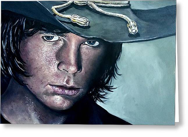 Grime Greeting Cards - Carl Grimes Greeting Card by Tom Carlton