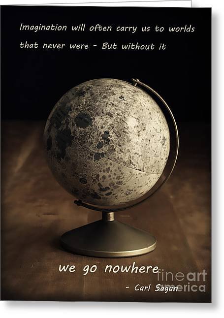 Planet Map Greeting Cards - Carl Sagan on Imagination Greeting Card by Edward Fielding