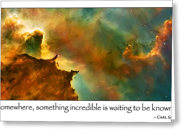 Carl Sagan Quote And Carina Nebula 2 Greeting Card by The  Vault - Jennifer Rondinelli Reilly