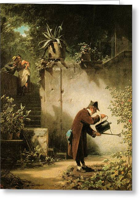 Constable Greeting Cards - Carl Spitzweg Der Blumenfreund Greeting Card by MotionAge Designs