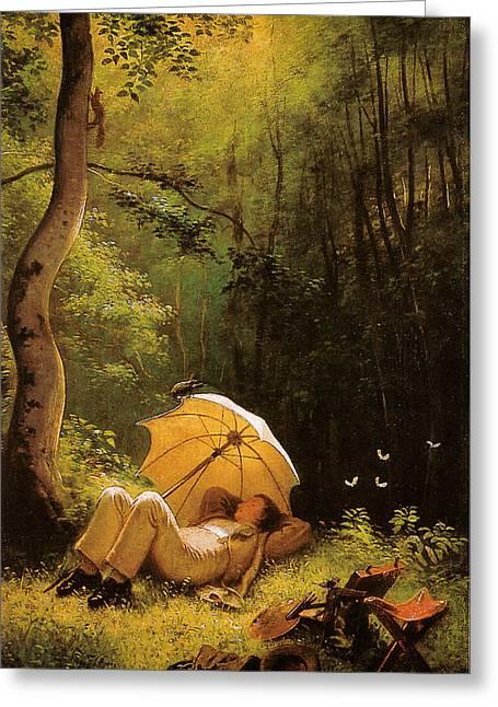 Hofner Greeting Cards - Carl Spitzweg Der Maler auf einer Waldlichtung unter einem Schirm liegend Greeting Card by Carl Spitzweg
