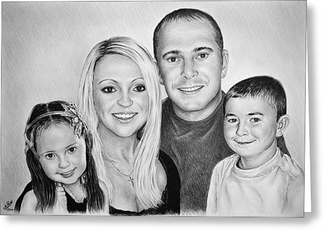 Little Boy Drawings Greeting Cards - Carlie Neil Alisha and Ben Greeting Card by Andrew Read