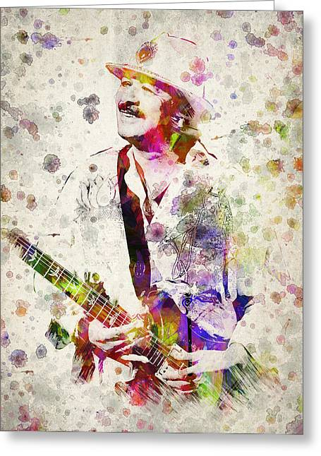 Chicano Greeting Cards - Carlos Santana Greeting Card by Aged Pixel
