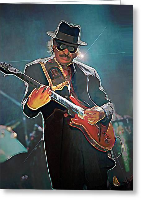 Fli Greeting Cards - Carlos Santana Greeting Card by  Fli Art