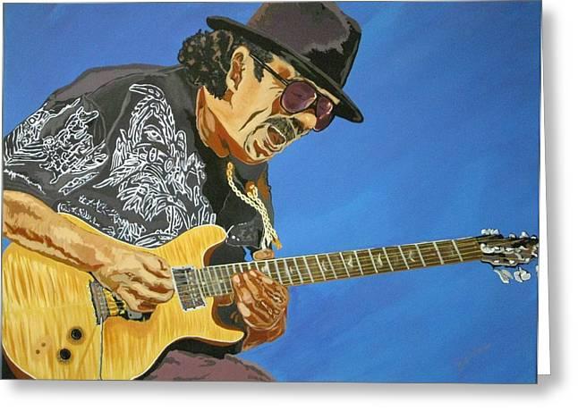 Etc. Paintings Greeting Cards - Carlos Santana-Magical Musica Greeting Card by Bill Manson