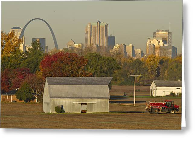 Jefferson National Expansion Memorial Greeting Cards - Carls barn and the Arch Greeting Card by Garry McMichael