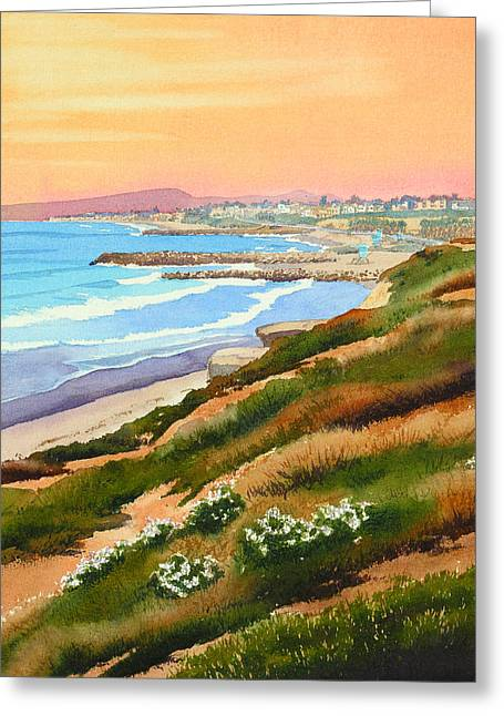 Carlsbad Coastline Greeting Card by Mary Helmreich