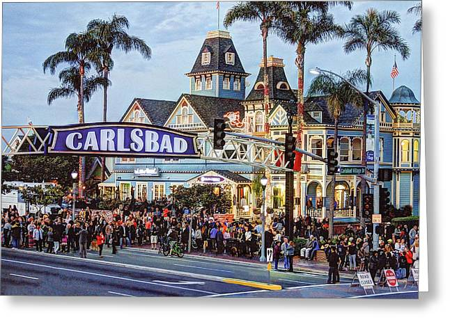 Ann Patterson Greeting Cards - Carlsbad Village Sign Greeting Card by Ann Patterson