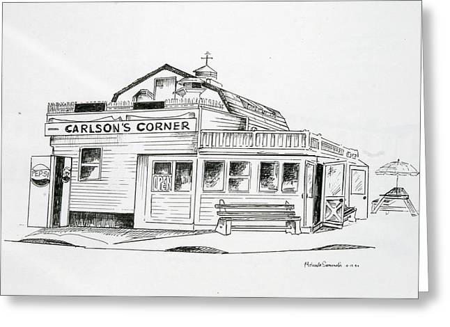 Seaside Heights Drawings Greeting Cards - Carlsons Corner Manasquan Greeting Card by Melinda Saminski