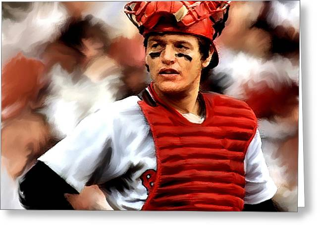 Red Sox Drawings Greeting Cards - Carlton Fisk  Fisk Greeting Card by Iconic Images Art Gallery David Pucciarelli