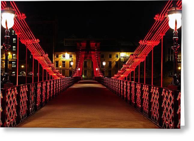 Scotland Wall Art Greeting Cards - Carlton place suspension footbridge Greeting Card by Grant Glendinning