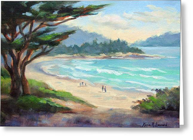 Big Sur Greeting Cards - Carmel Beach Evening Light Greeting Card by Karin  Leonard