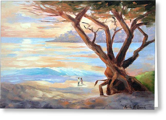 Carmel Beach Winter Sunset II Greeting Card by Karin  Leonard