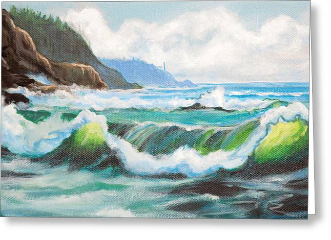 Big Sur California Mixed Media Greeting Cards - Carmel California Pacific Ocean Seascape Painting Greeting Card by  Bob and Nadine Johnston