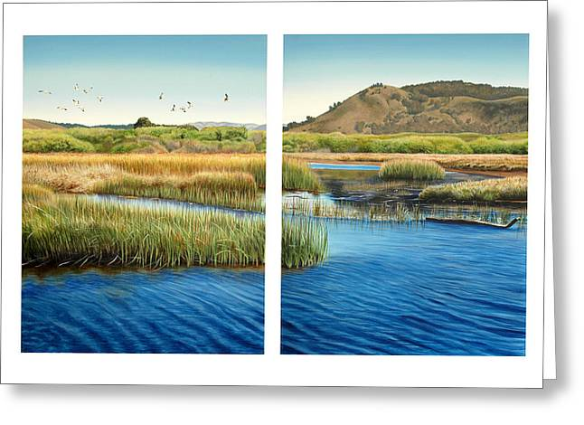 Sloughs Greeting Cards - Carmel Lagoon Greeting Card by Logan Parsons