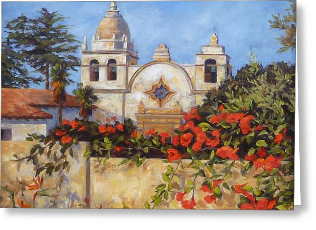 Buildings By The Sea Greeting Cards - Carmel Mission Greeting Card by Shelley Cost