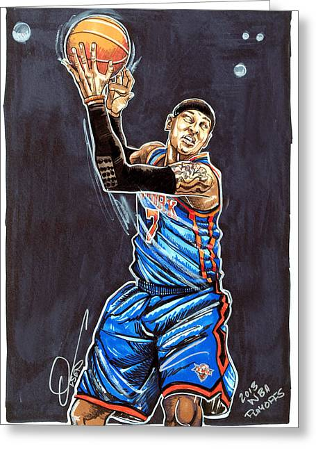 Knicks Greeting Cards - Carmelo Anthony Greeting Card by Dave Olsen