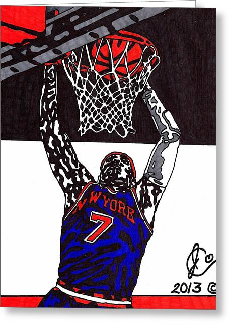 Knicks Greeting Cards - Carmelo Anthony Greeting Card by Jeremiah Colley