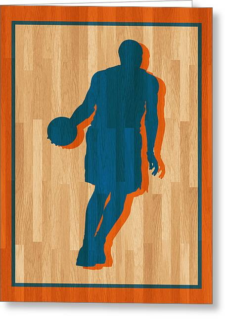 Knicks Greeting Cards - Carmelo Anthony New York Knicks Greeting Card by Joe Hamilton