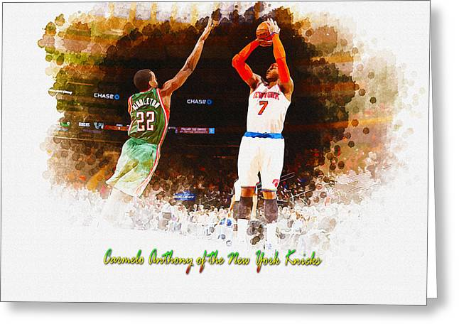 Allstar Greeting Cards - Carmelo Anthony of the New York Knicks Greeting Card by Don Kuing