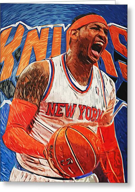Recently Sold -  - Knicks Greeting Cards - Carmelo Anthony Greeting Card by Taylan Soyturk