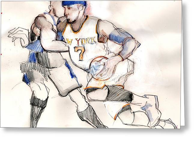 Knicks Greeting Cards - Carmelo Greeting Card by Carolyn Weltman