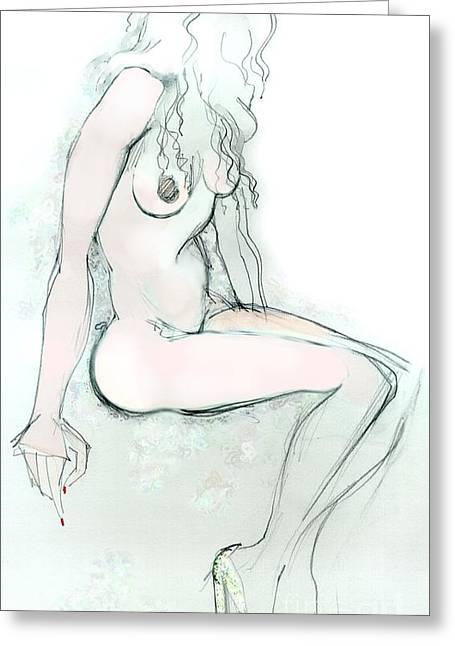 Carmen As Pussy L'amour - Female Nude Greeting Card by Carolyn Weltman