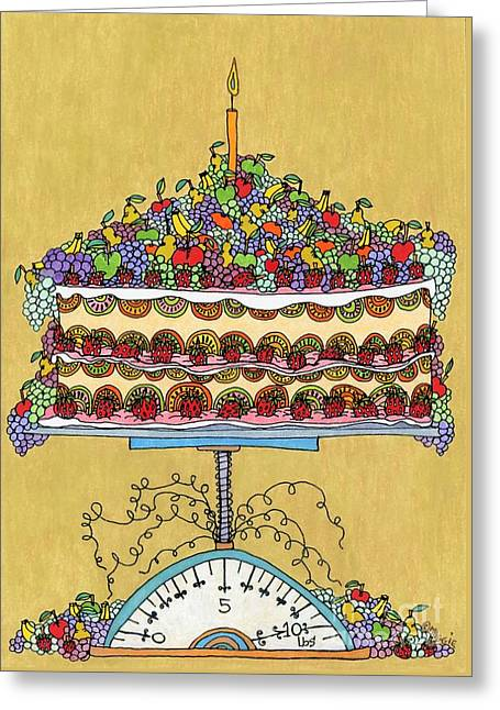 Blue Grapes Drawings Greeting Cards - Carmen Miranda - Cake Greeting Card by Mag Pringle Gire