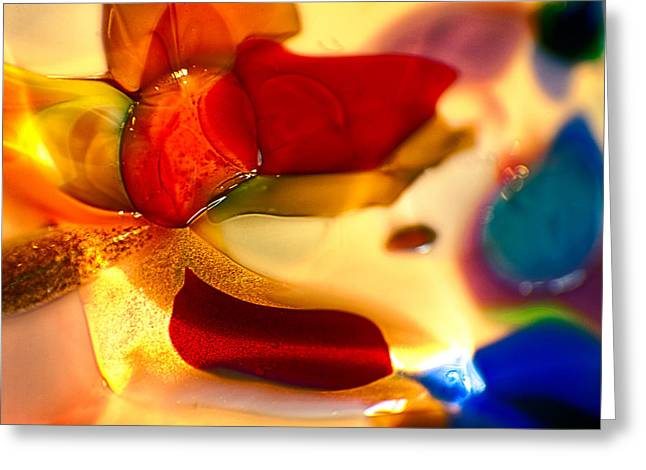 Red Abstracts Glass Art Greeting Cards - Carmen Greeting Card by Omaste Witkowski