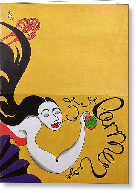 Opera Greeting Cards - Carmen Wc On Paper Greeting Card by Carolyn Hubbard-Ford