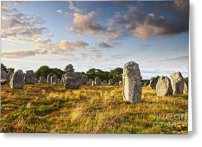 Carnac Alignments Brittany France Greeting Card by Colin and Linda McKie