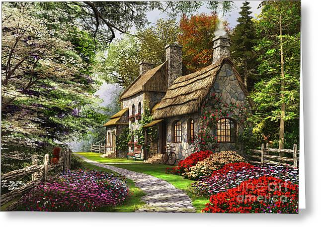 Flint Greeting Cards - Carnation Cottage Greeting Card by Dominic Davison