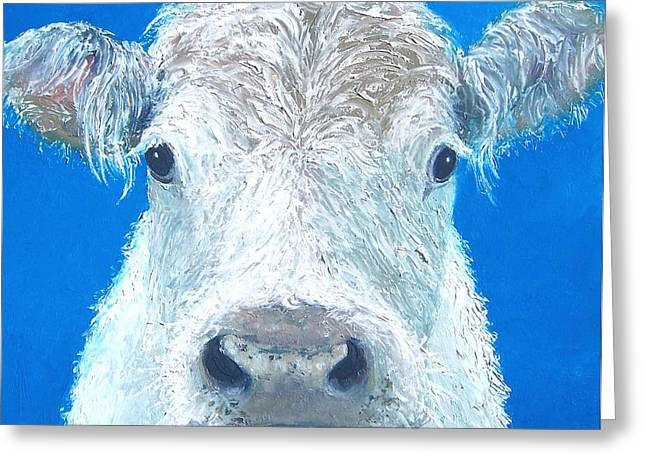 Cafe Greeting Cards - Carnation the cow Greeting Card by Jan Matson
