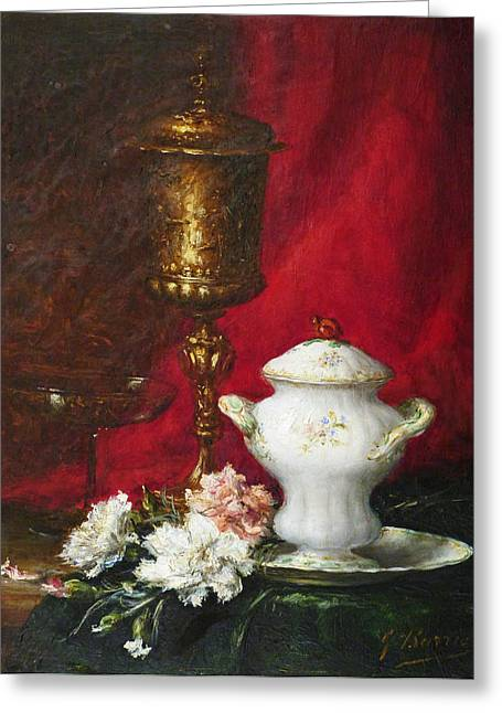 Period Paintings Greeting Cards - Carnations and Sugar Bowl Greeting Card by David Lloyd Glover