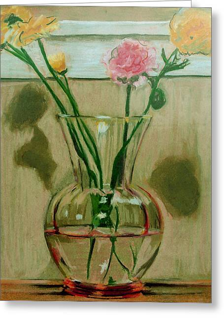 Vase Of Flowers Pastels Greeting Cards - Carnations Greeting Card by Anita Dale Livaditis