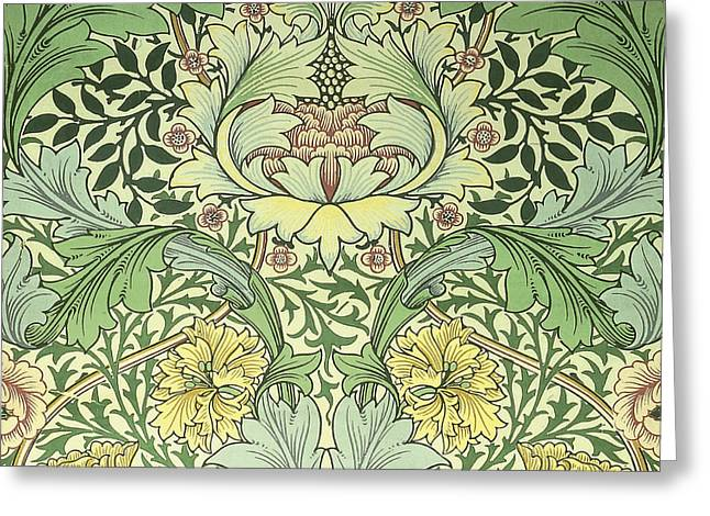Old Tapestries - Textiles Greeting Cards - Carnations Design Greeting Card by William Morris
