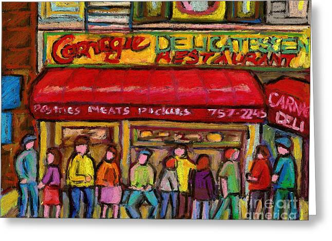 Take-out Greeting Cards - Carnegies  Deli New York City Greeting Card by Carole Spandau