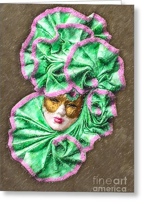 Venezia Greeting Cards - Carnevale mask Greeting Card by Liz Leyden