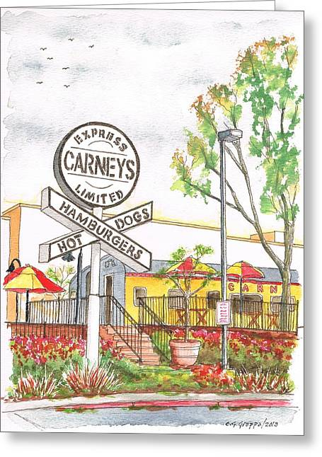 Express Paintings Greeting Cards - Carneys Hamburgers and Hot Dogs in Studio City - California Greeting Card by Carlos G Groppa