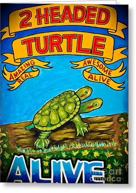 Carnival Art Greeting Cards - Carnival Art - 2 Headed Turtle Greeting Card by Colleen Kammerer