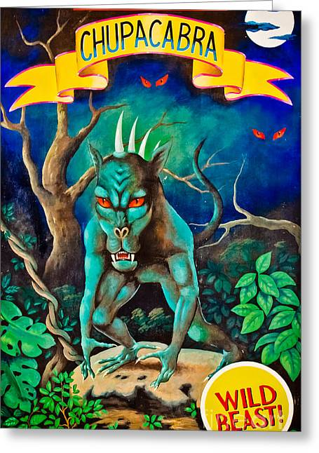 Freak Show Greeting Cards - Carnival  Art- Wild Beast Greeting Card by Colleen Kammerer