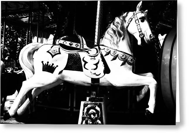Carnival Carousel In Mono Greeting Card by Georgia Fowler