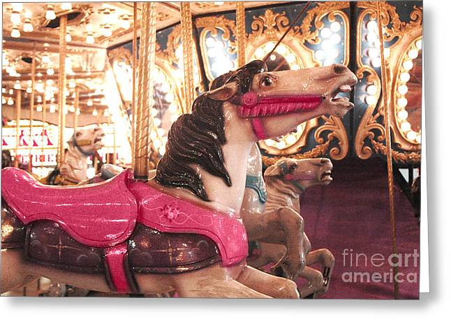 Festivals Fairs Carnival Photos Greeting Cards - Carnival Carousel Merry Go Round Horses Night Lights - Carousel Horses Hot Pink Carnival Rides Greeting Card by Kathy Fornal