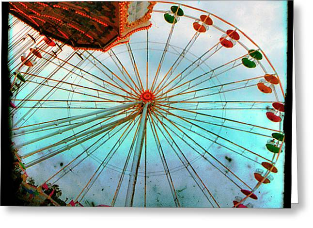 Surreal Ferris Wheel Greeting Cards - Carnival Colors Greeting Card by Gothicolors Donna Snyder