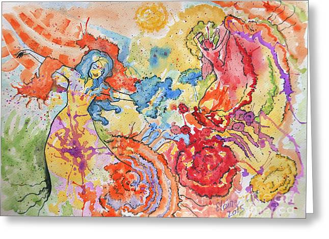 People Paintings Greeting Cards - Carnival  Greeting Card by Elaine Berger