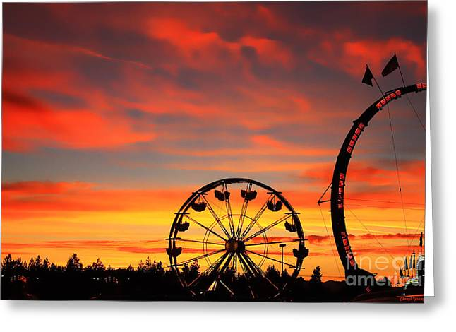 Carnival Ride Greeting Cards - Carnival Evening Greeting Card by Cheryl Young